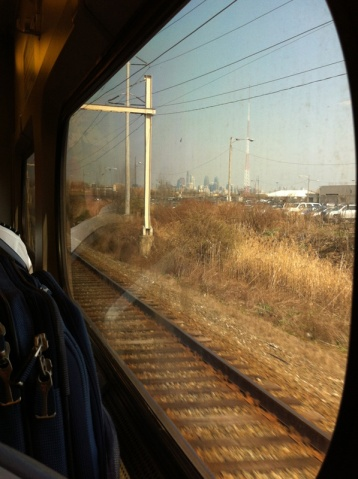 A view of Philadelphia on the train ride to the airport.