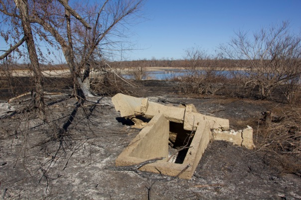An old storm shelter by the water and in the middle of an area that burned recently.